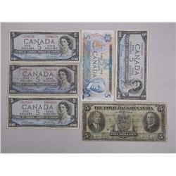 6x Canada Five Dollar Notes - 1935 Royal Bank Large Format Chartered, (3) 1954 Modified Portrait, (1