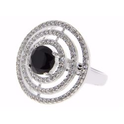 Ladies 925 Silver Custom Halo Ring - Size 8 - 1.80ct Black Swarovski Element with 2.20ct Around Micr