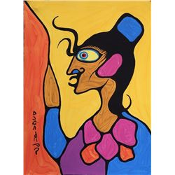 Norval Morrisseau (1932-2007) Untitled (Shaman) Signed in Cree Syllabics Copper Thunderbird. Signed