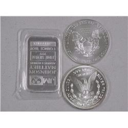 Lot (3) .9999 Fine Silver Bullion Collectibles - 1oz JM BAR, 1oz USA Trade Unit, 1oz USA Dollar. Not