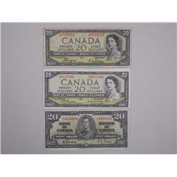 3x Bank of Canada - Twenty Dollar Banknotes 1937, 1954 Modified Portrait, 1954 Devil's Face (ATTN: 3