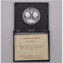 (1962-1972) Jamaica Proof Sterling Silver $10.00 with C.O.A.