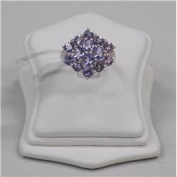 Ladies 925 Silver - Fine tanzanite Cluster Ring. Size 7