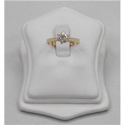 Estate - Ladies 14kt Gold / Yellow and White Gold/ Diamond Solitaire Ring. (.95ct) (SI2) (J-K) SRRV: