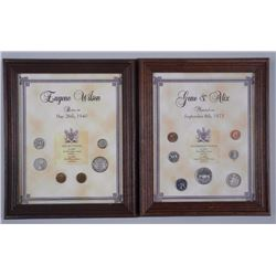 2x Framed Mint Coin Set (1973 and 1940) 8x10 (ATTN: 2 Times the bid price)