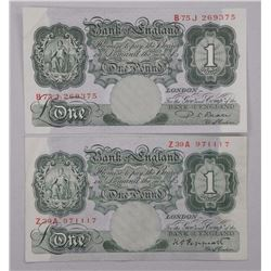 2x Bank of England - One Pound Note - Issue (1948-1955) (ATTN: 2 Times the bid price)