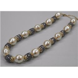 "Ladies 18kt Gold Plated Pearl Like Necklace with 330 Jet Black CZ Choker 16"" Style. SRRV: $125.00"