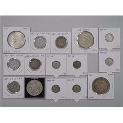 15x Silver Coins - world Mix 2x2 identified (ATTN: 15 Times the bid price)
