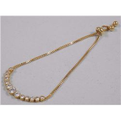 Ladies Custom Cast Fancy Bracelet Gold Plate with 12cts 'CZ' Box Style Chain. SRRV: $150.00