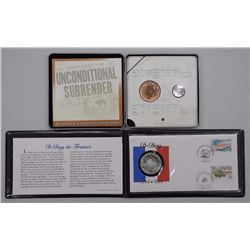 2x D-Day and VE Day Coin Sets. 925 Silver France, 60th VE Day with 2 Coins (ATTN: 2 Times the bid pr