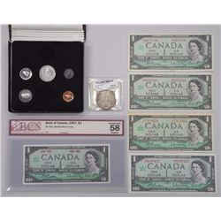 RCM (1867-1967) Silver Coin Set - Dollar MS65 'ICCS' and 5 Bank of Canada One Dollar.