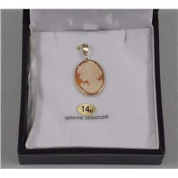 Ladies 14kt Yellow Gold Hand Made Italy Pendant. 1 Oval, Carnelian Shell Cameo (Orange colour) = 5.0