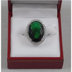 Ladies 925 Silver Custom Ring, 10.00ct Oval Emerald Green Swarovski Elements and 34 Micro Pave Set A