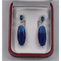 Ladies 925 Silver Custom Earrings. 2 Oval Sapphire Blue Swarovski Elements = 33.50ct and 16 CZ Aroun