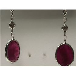 #3-14KT WHITE GOLD RUBY & DIAMOND DROP STYLE