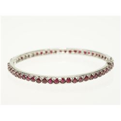 #4-STERLING SILVER RUBY BANGLE