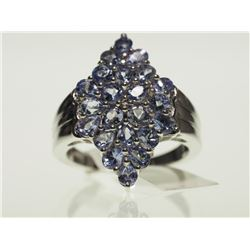 #7-STERLING SILVER TANZANITE RING