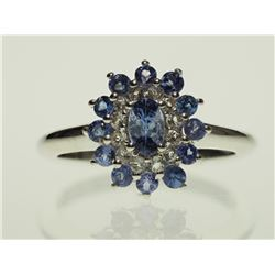 #12-STERLING SILVER TANZANITE & CUBIC ZIRCON RING
