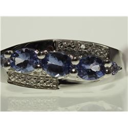 #30-STERLING SILVER TANZANITE RING