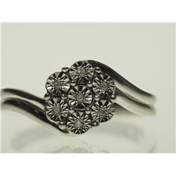 #31-STERLING SILVER DIAMOND RING WITH