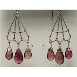 #35-14KT WHITE GOLD PINK TOURMALINES EARRINGS