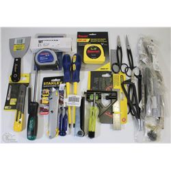 FLAT OF NEW ASSORTED TOOLS INCLUDING, TAPE MEASURE