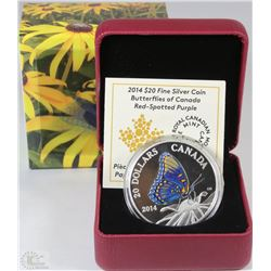37) RCM 2014 $20 FINE SILVER COIN-BUTTERFLIES OF