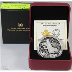 44) RCM 2014 $15 FINE SILVER COIN-MAPLE OF