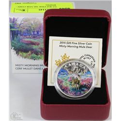 32) RCM 2015 $20 FINE SILVER COIN - MISTY MORNING