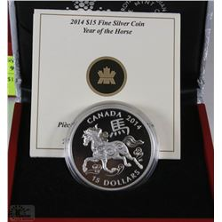 17) RCM 2014 $15 FINE SILVER COIN - YEAR OF THE