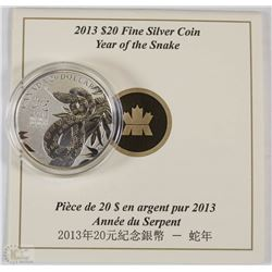 51) RCM 2013 $20 FINE SILVER COIN-SNAKE