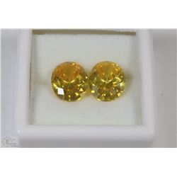 77) YELLOW ZIRCONIA 2 PCS TOTAL 17.5CT FOR