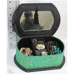 GREEN AND BLACK JEWELRY BOX FILLED WITH FASHION