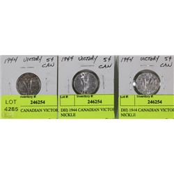 DH)LOT OF 3 1944 CANADIAN VICTORY NICKELS