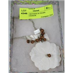 VINTAGE MOTHER OF PEARL FLOWER CHOKER