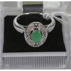 #36-GREEN EMERALD&CZ.925 STERLING SILVER RING