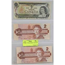 SHEET W/3 COLLECTIBLE CANADIAN BILLS -