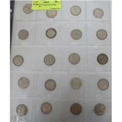 SHEET OF 20 CANADIAN SILVER QUARTERS -