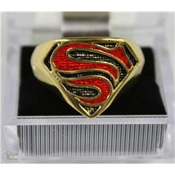 SUPERMAN LOGO GOLD TONE RING SZ10