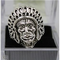 STYLE INDIAN CHIEF SHAPED CARVING RING