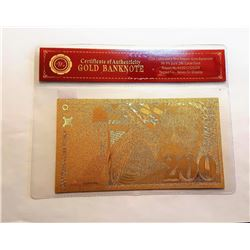 99.9% PURE GOLD FOIL FRENCH BANKNOTE
