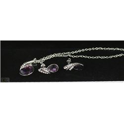 FASHION NECKLACE & EARRING SET - PURPLE GEMS