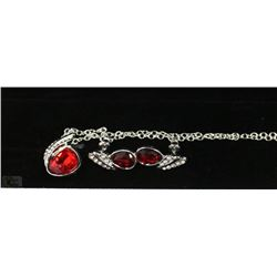 FASHION NECKLACE & EARRING SET - RED GEMS