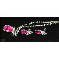 FASHION NECKLACE & EARRING SET - PINK GEMS