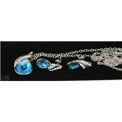 FASHION NECKLACE & EARRING SET - LIGHT BLUE GEMS