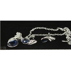 FASHION NECKLACE & EARRING SET - NAVY GEMS