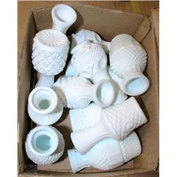 CASE WITH 12 DOZEN SMALL MILK GLASS VASES