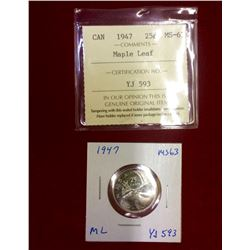 Canada 1947 25 Cents Maple Leaf MS-63 ICCS Graded  Been removed from is original sleeve.