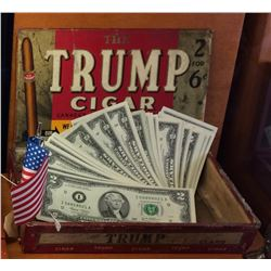 Vintage Wooden Trump Cigar  Box With 25 x American 2$ Banknote Great Again.!!