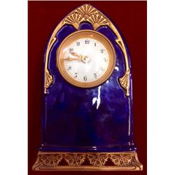 French Cobalt blue porcelain Mantel clock/DESK /BOUDOIR CLOCK WORKING c.1890, Missing Key